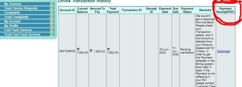 Can I download a Bescom bill receipt online?