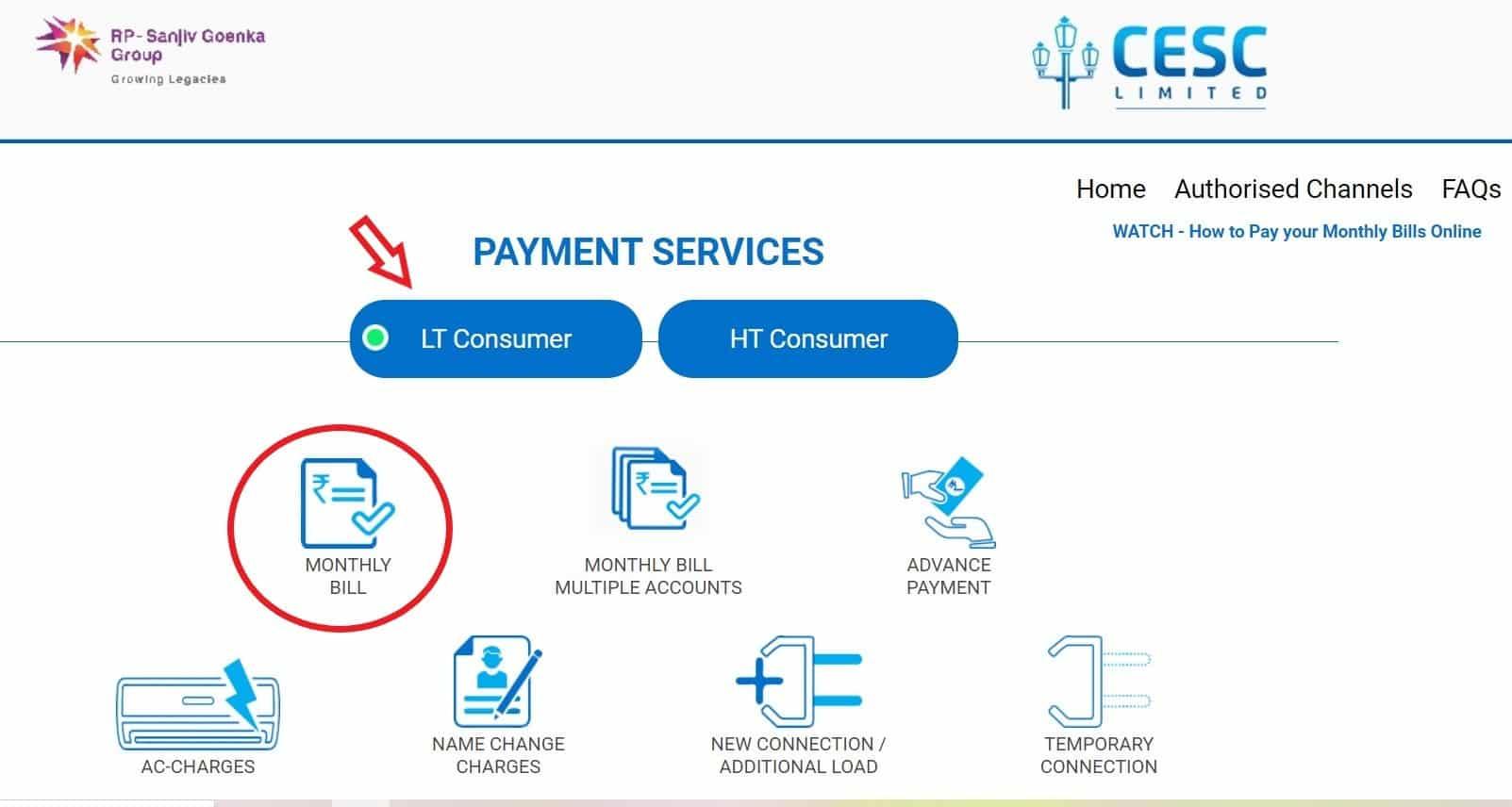 pay CESC bill online