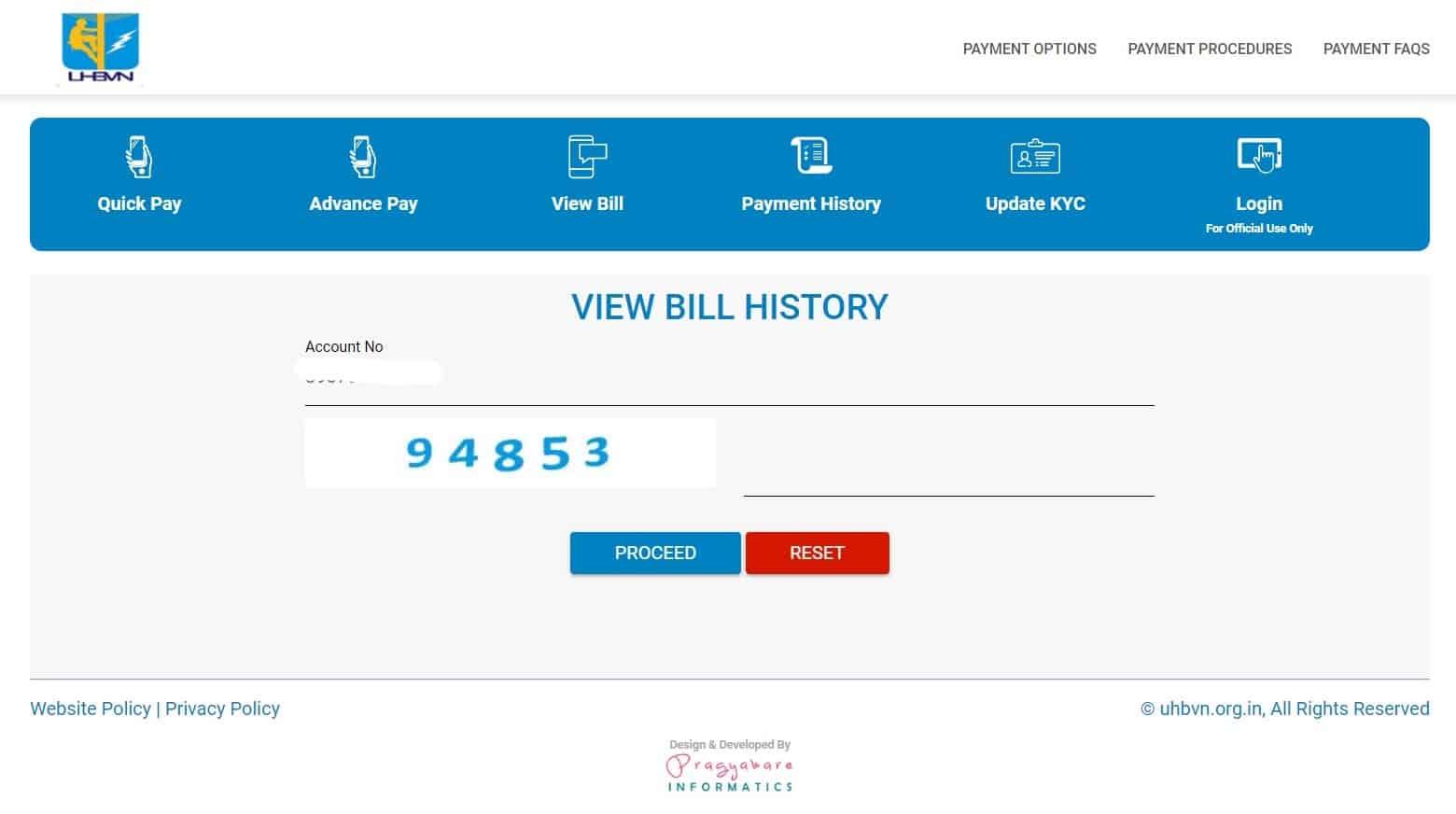 view UHBVN bill online