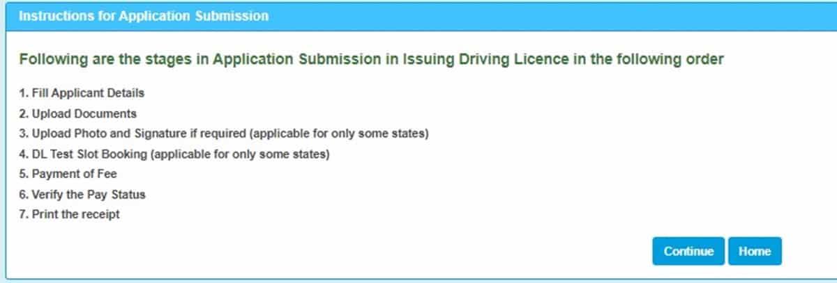 Sarathi Parivahan driving license