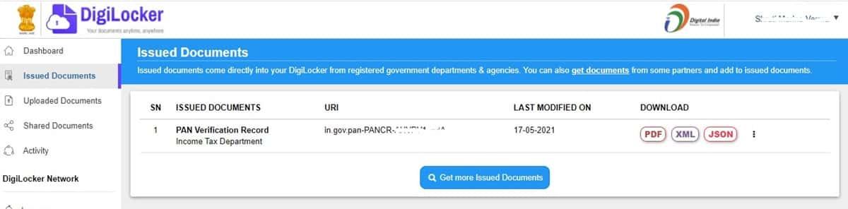 DigiLocker pan card verified