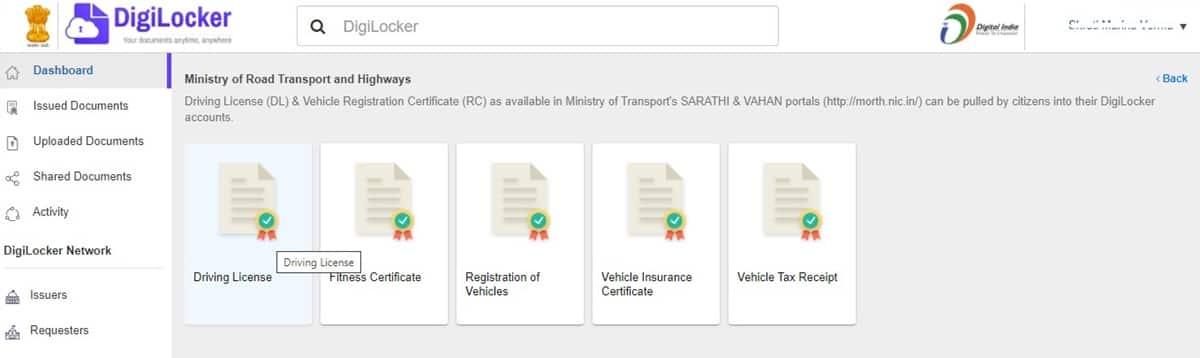 DigiLocker driving license