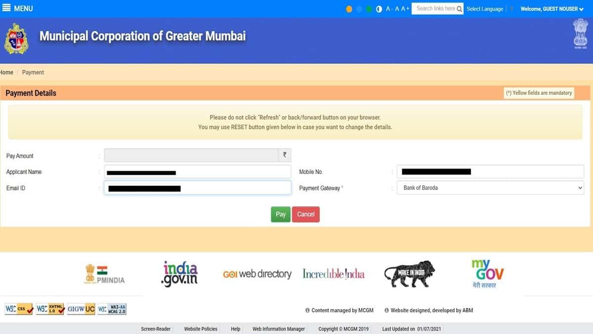 MCGM water bill payment online